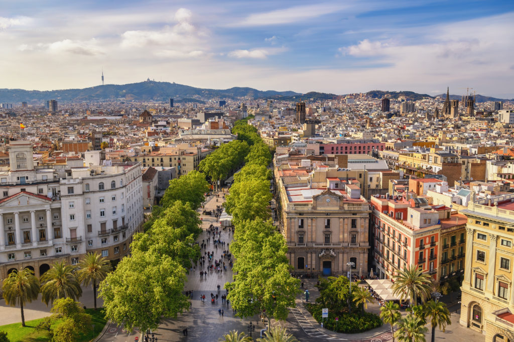 Barcelona Spain, high angle view city skyline at La Rambla street