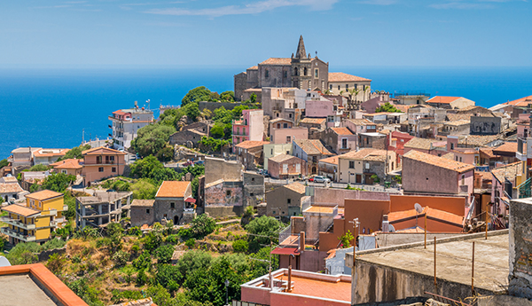 Scenic view in Forza d'Agrò, picturesque town in the Province o