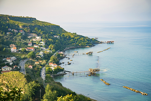 Beautiful view of Fossacesia coastline in Abruzzo Region, Italy. in the view also the old fishing piers