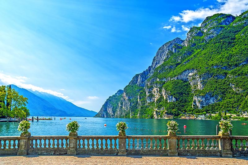 Riva del Garda, Trentino, Italy, by Garda lake, flowers decoration the promenade