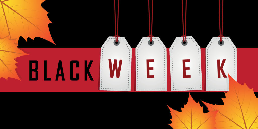 black week promotion hanging label on red background with autumn leaves vector illustration EPS10