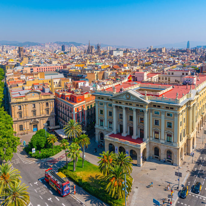 Aerial view of military government building in Barcelona, Spain