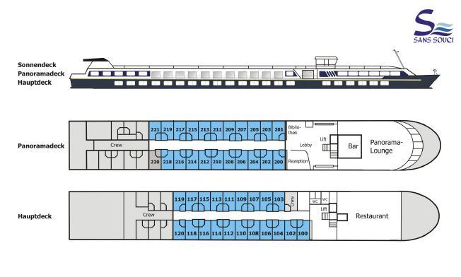 Deckplan MS Sans Souci